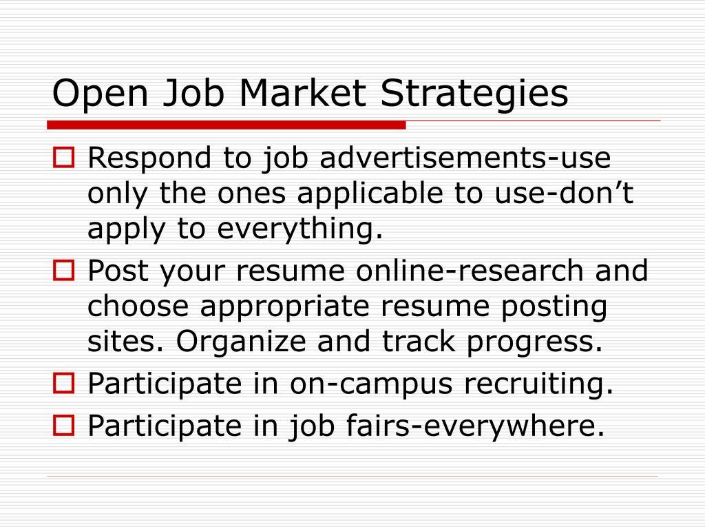 Open Job Market Strategies