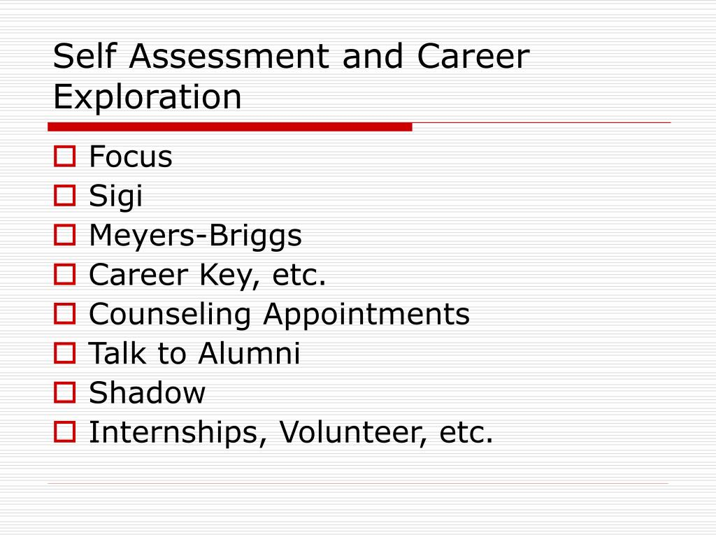 Self Assessment and Career Exploration