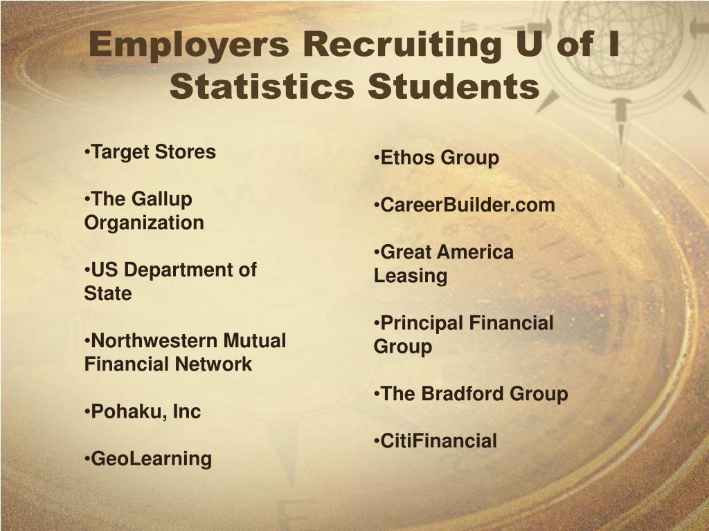 Employers Recruiting U of I Statistics Students