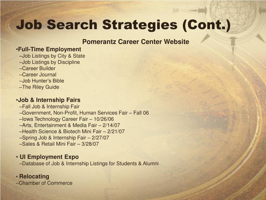 Job Search Strategies (Cont.)
