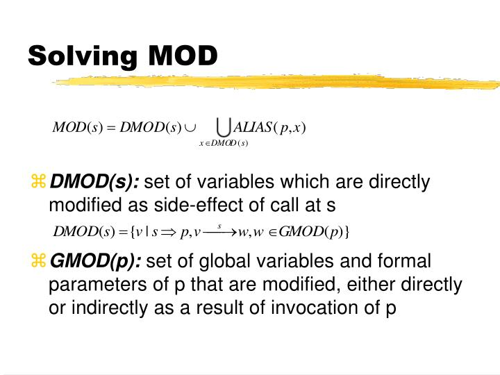 Solving MOD