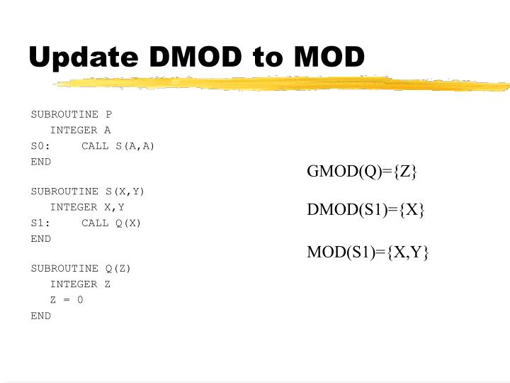 Update DMOD to MOD