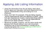 applying job listing information