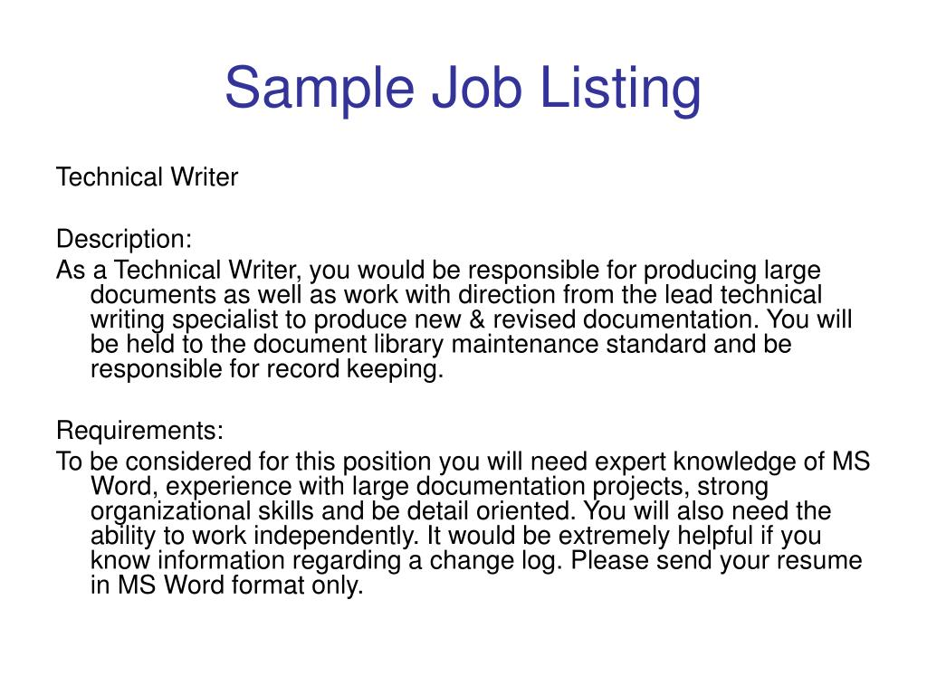 Sample Job Listing