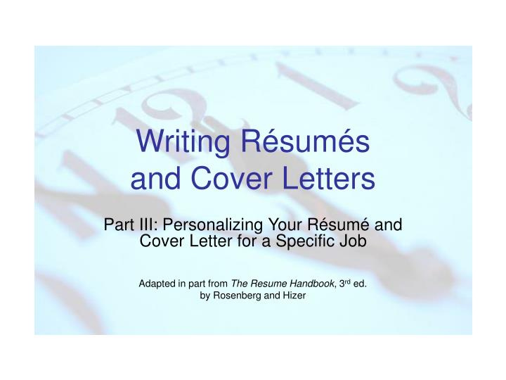 Writing r sum s and cover letters