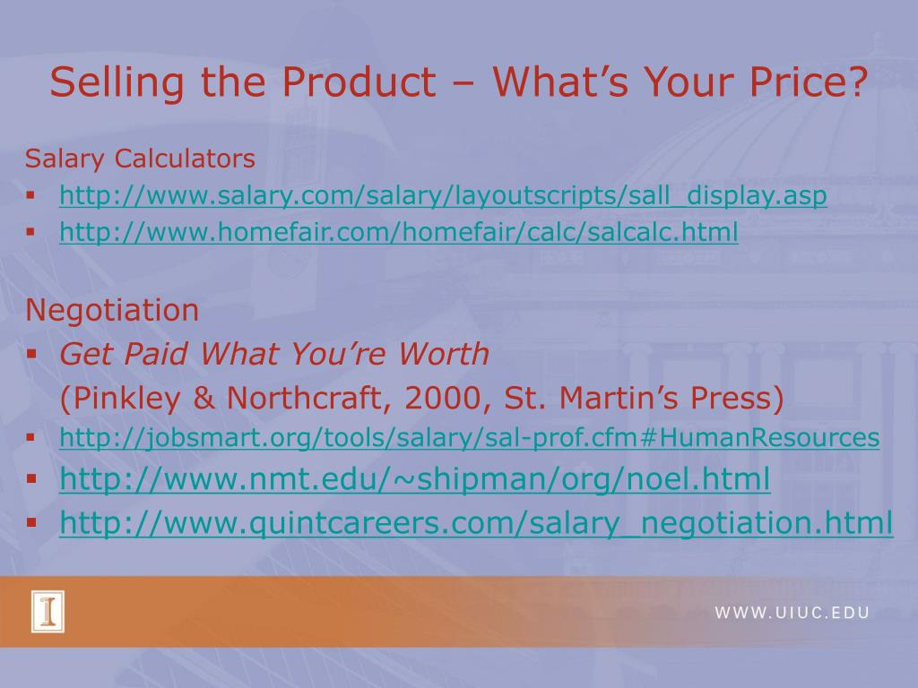 Selling the Product – What's Your Price?