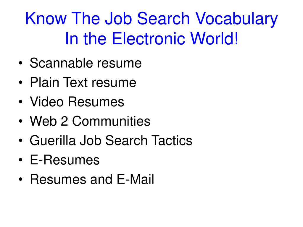 Know The Job Search Vocabulary