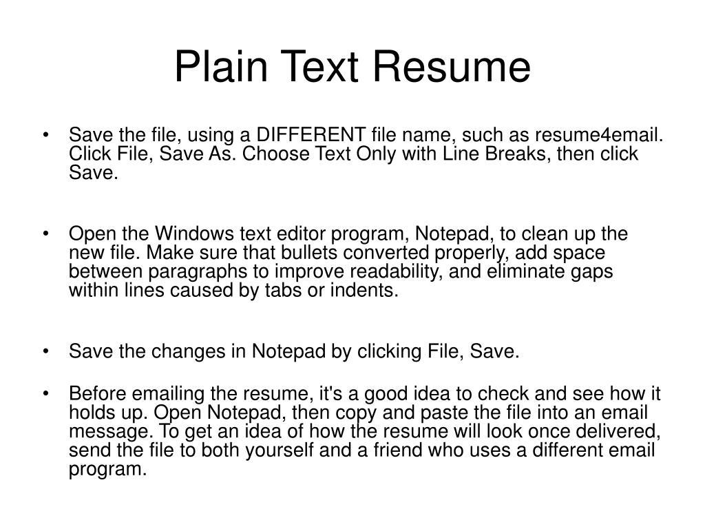 Plain Text Resume