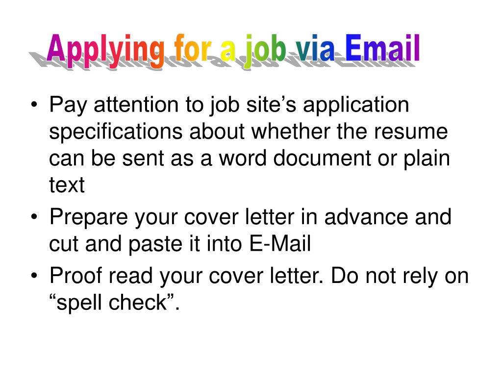 Applying for a job via Email