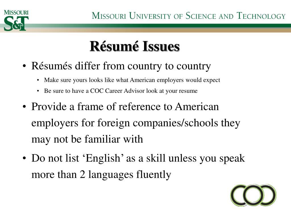 Résumé Issues