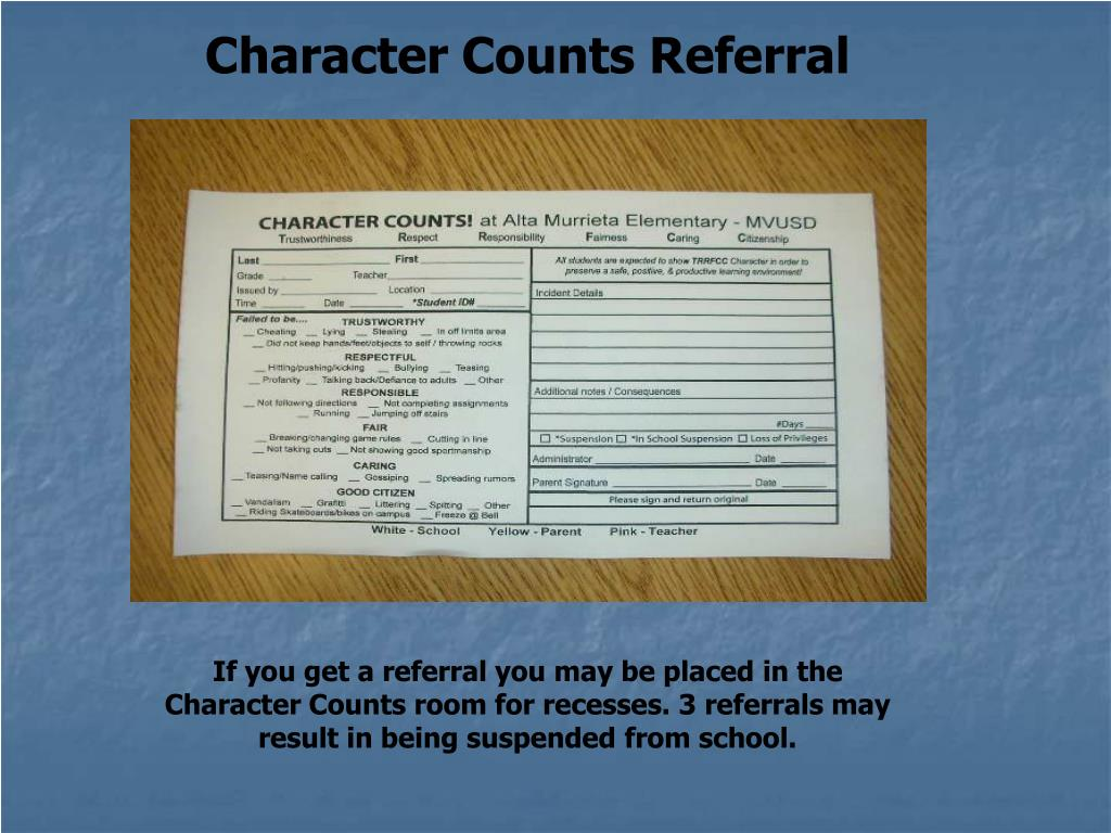 Character Counts Referral