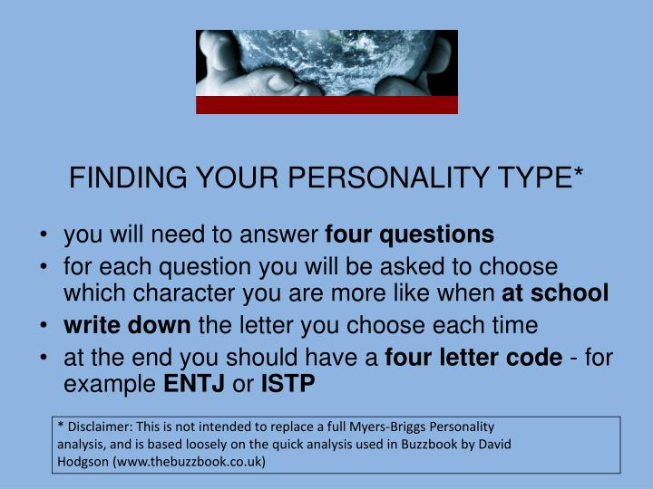 FINDING YOUR PERSONALITY TYPE*