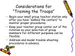 considerations for training the troops