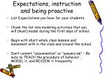 expectations instruction and being proactive