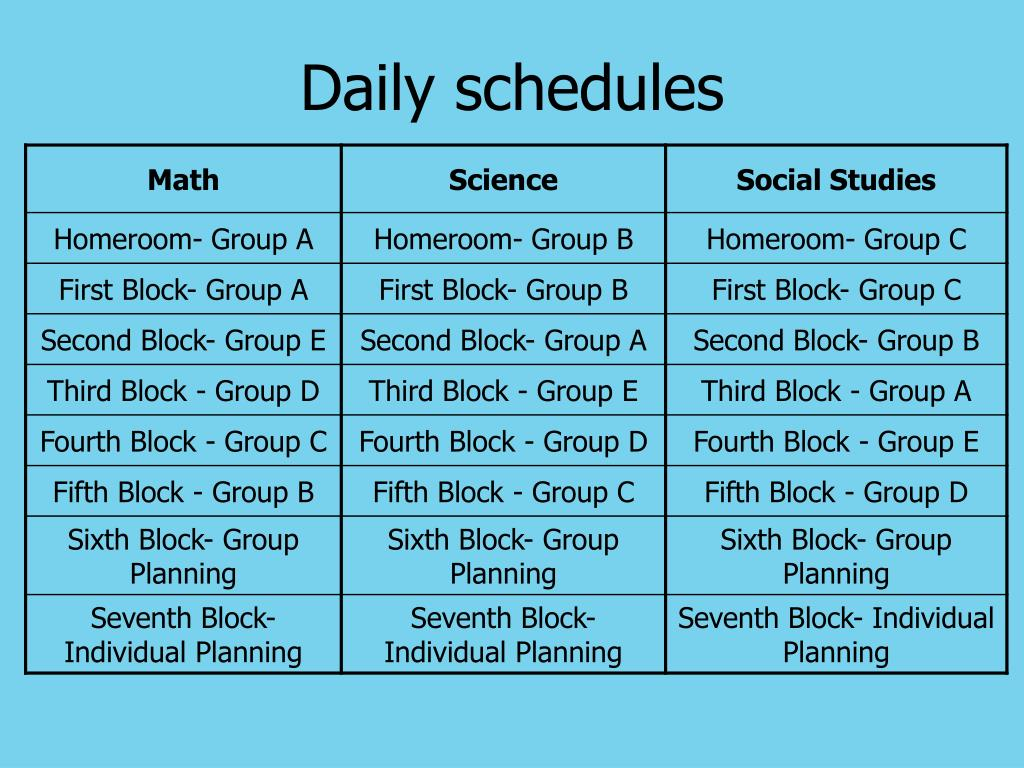 Daily schedules