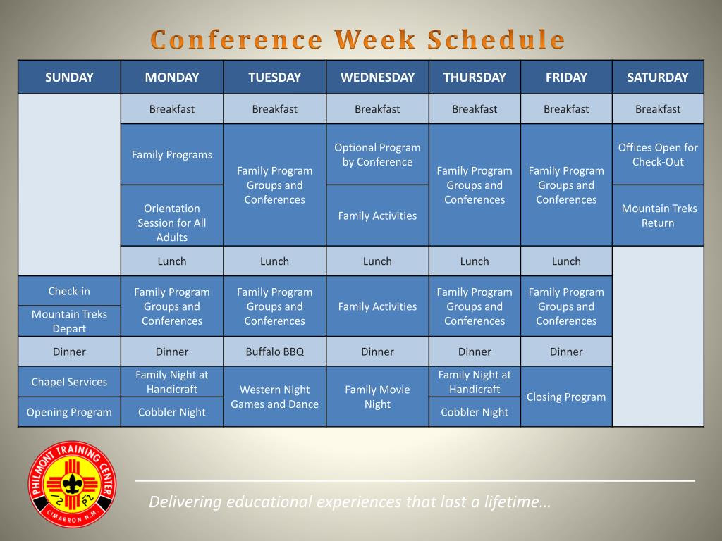 Conference Week Schedule