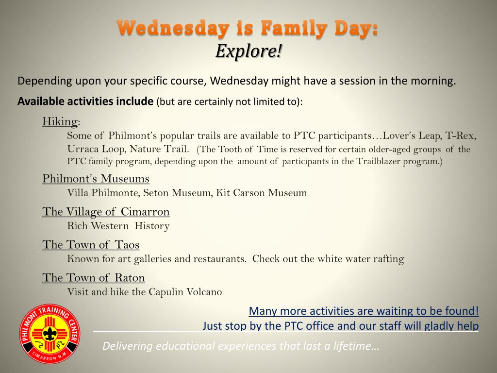 Wednesday is Family Day: