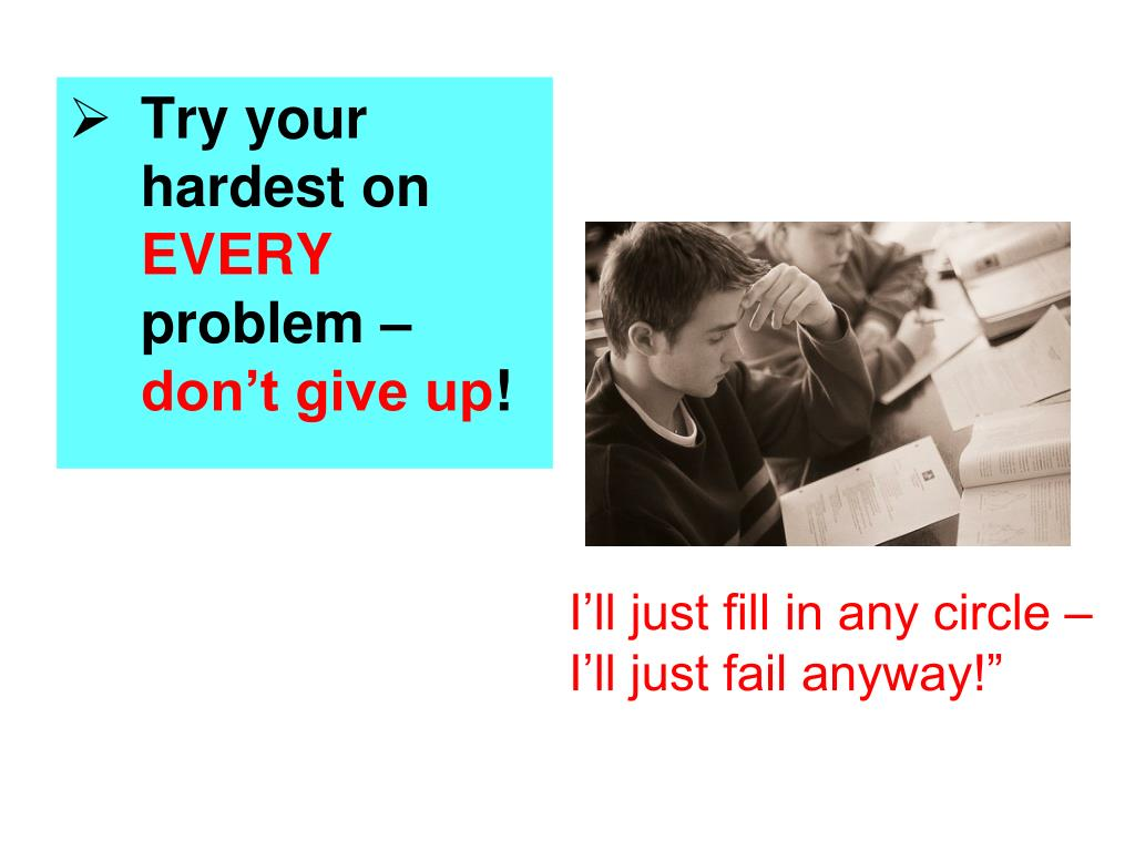 Try your hardest on