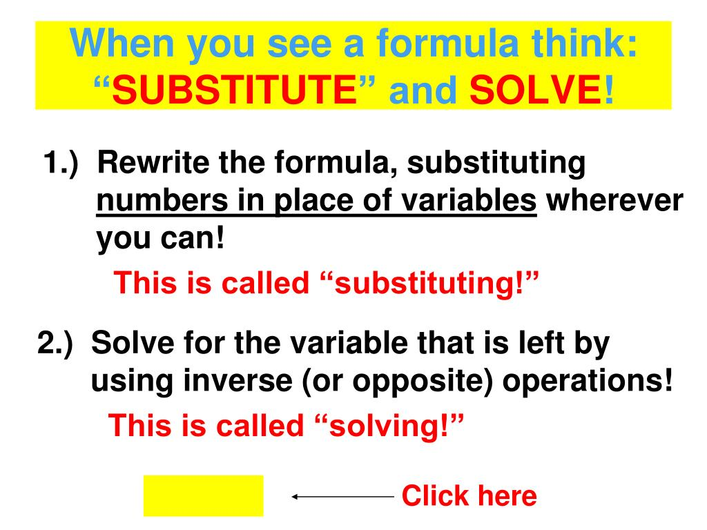 When you see a formula think: