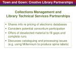 collections management and library technical services partnerships