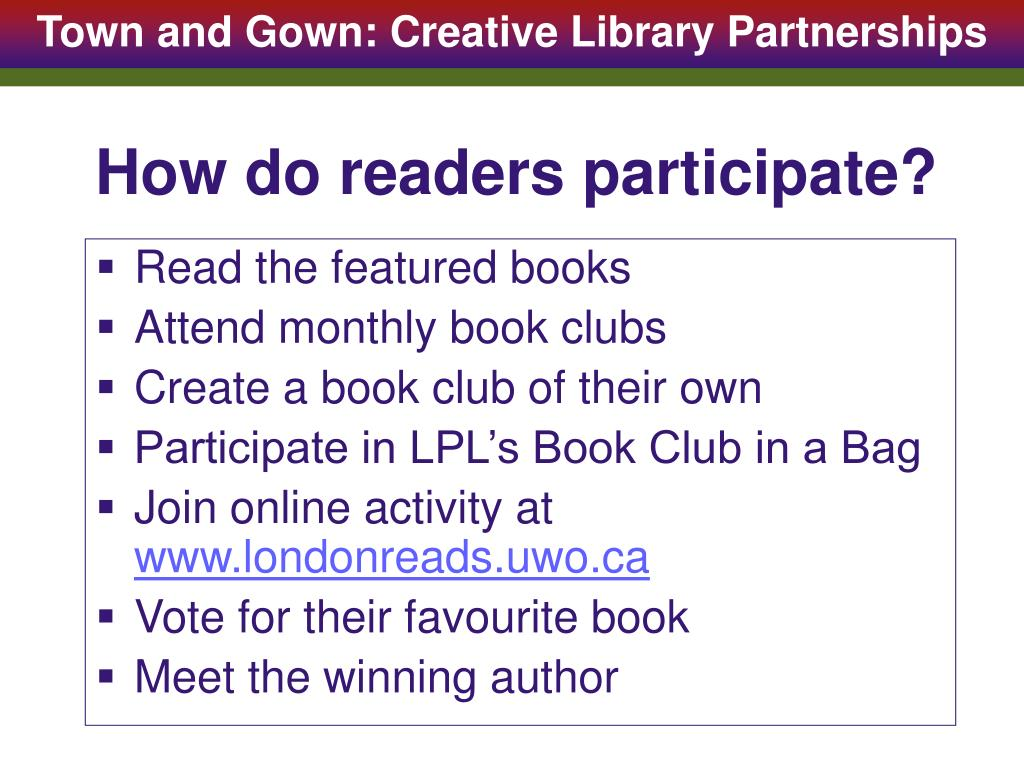 How do readers participate?