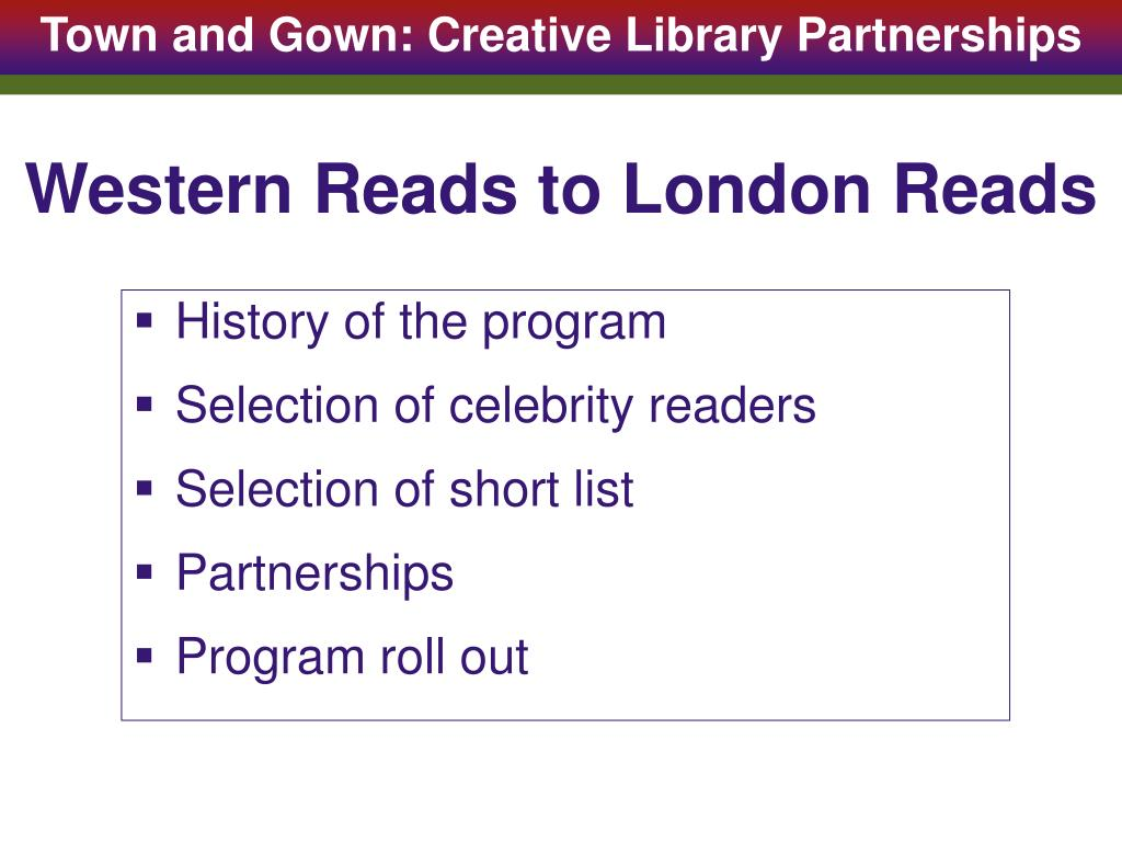 Western Reads to London Reads