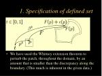 1 specification of defined set
