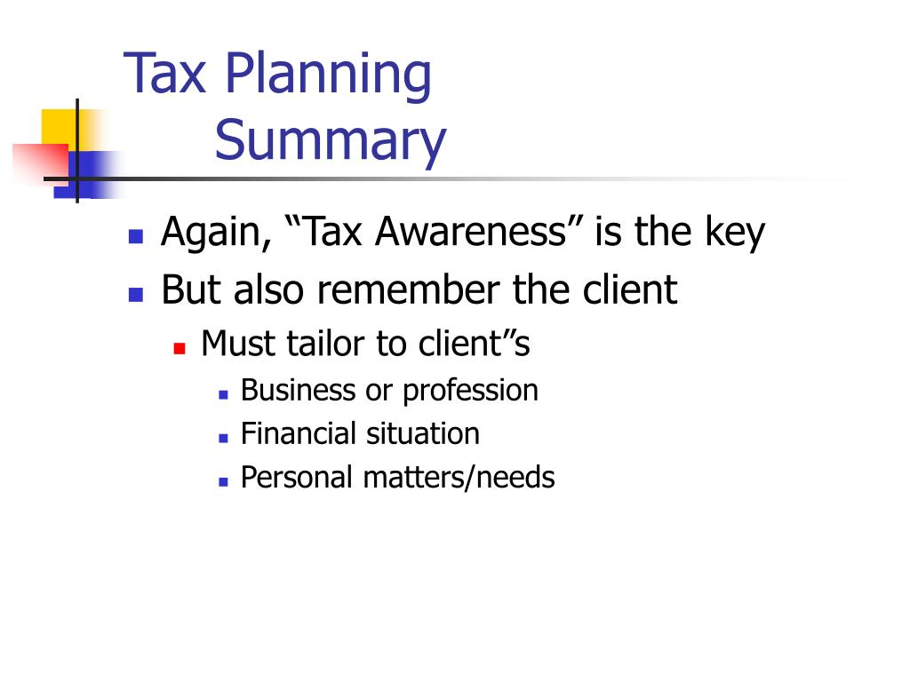 Tax Planning Summary