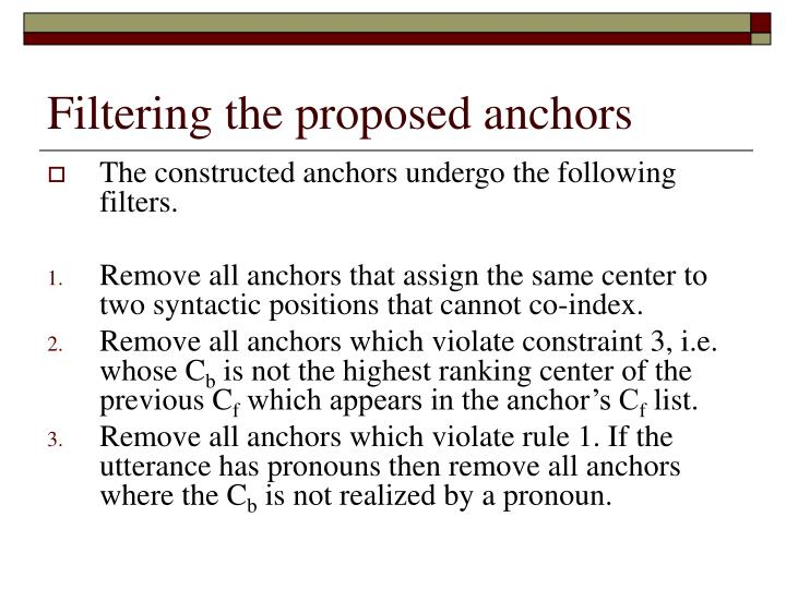 Filtering the proposed anchors