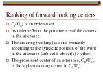 ranking of forward looking centers