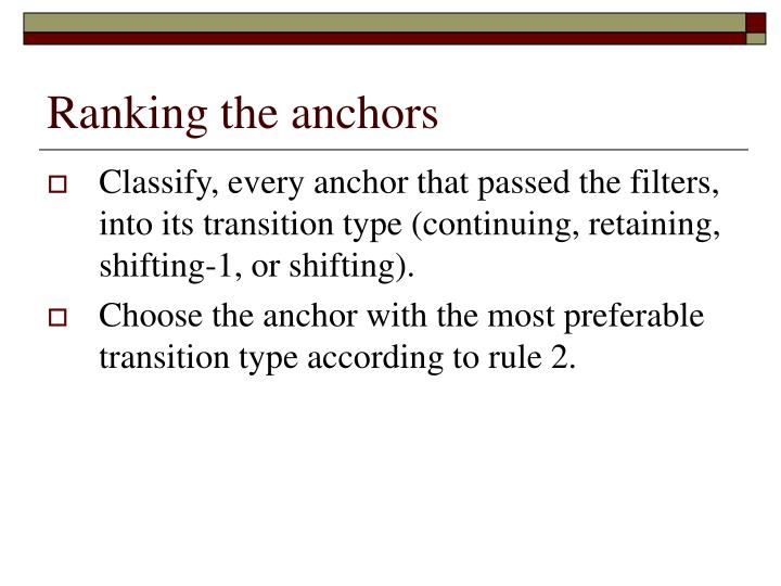 Ranking the anchors