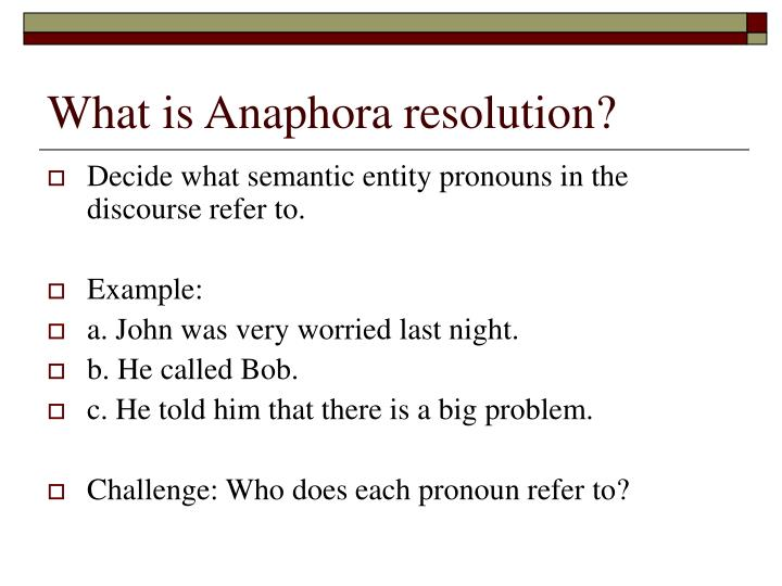 What is Anaphora resolution?