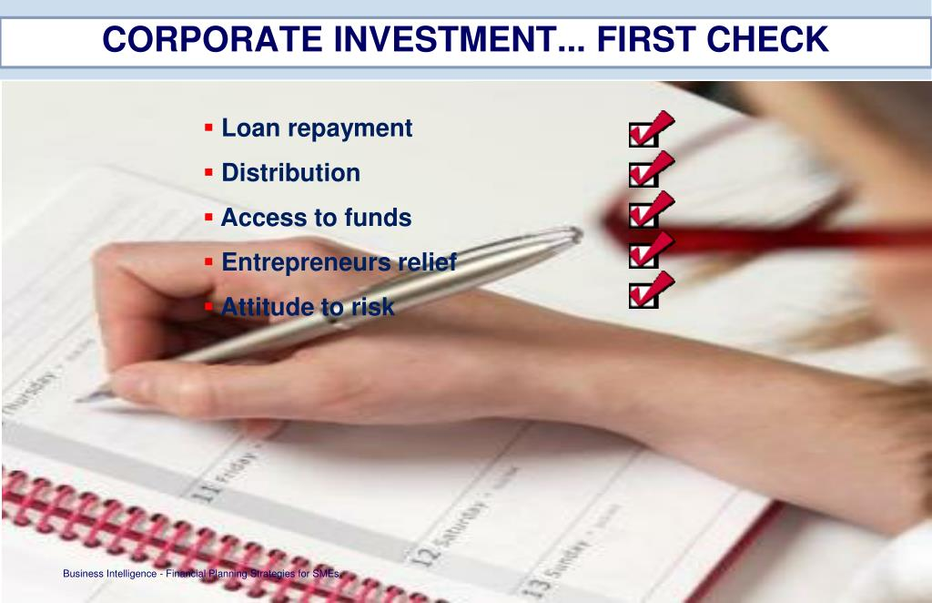 CORPORATE INVESTMENT... FIRST CHECK