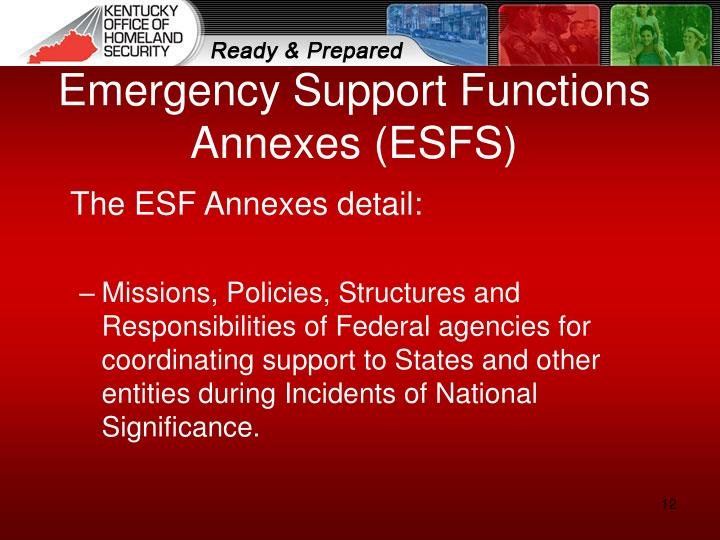 Emergency Support Functions Annexes (ESFS)
