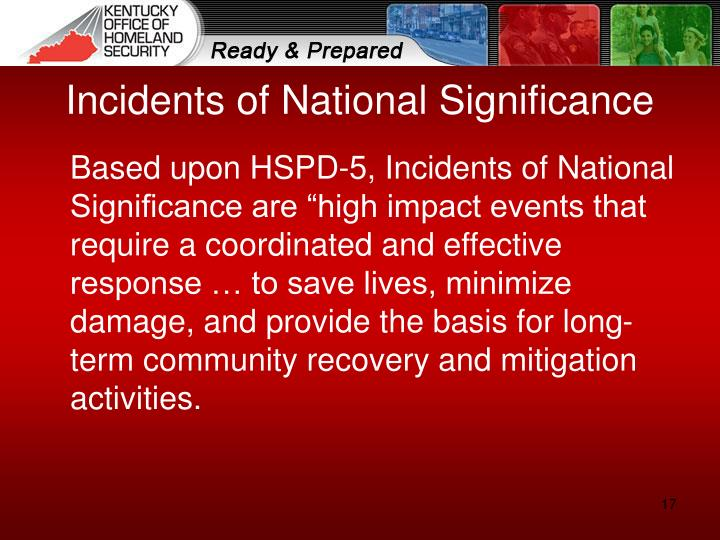 Incidents of National Significance