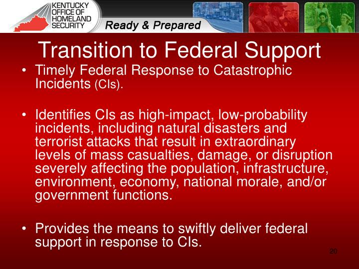 Transition to Federal Support