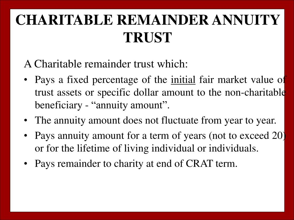 CHARITABLE REMAINDER ANNUITY TRUST