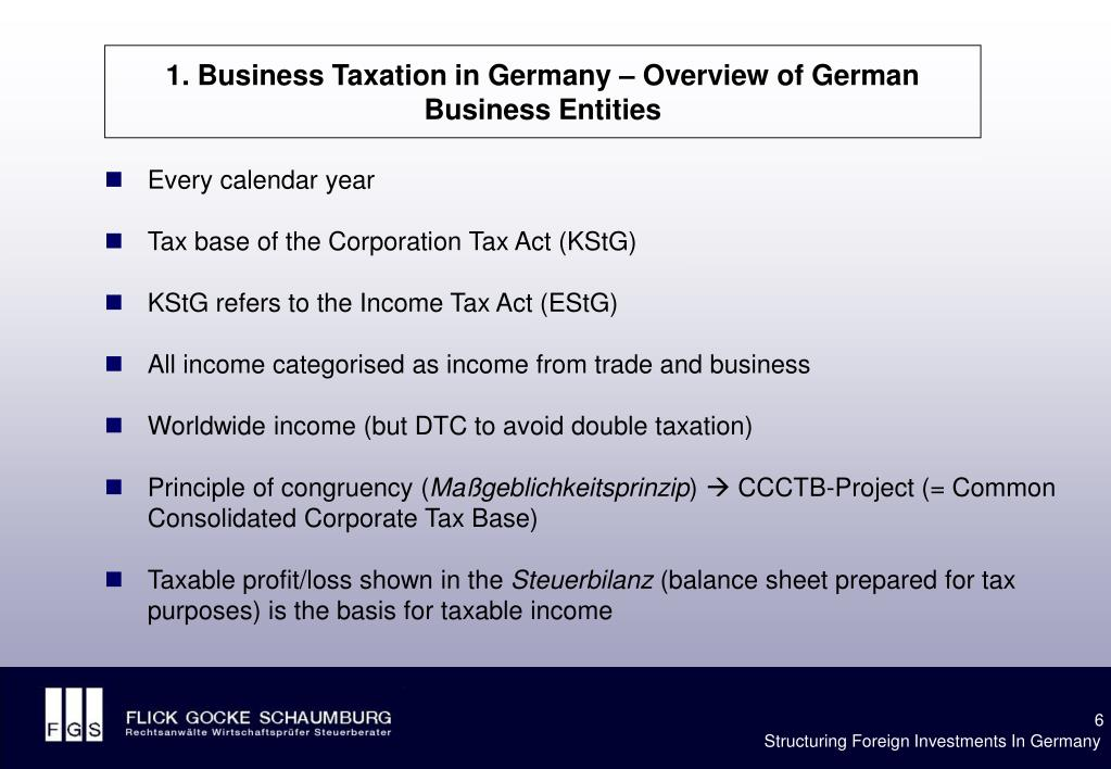1. Business Taxation in Germany – Overview of German Business Entities