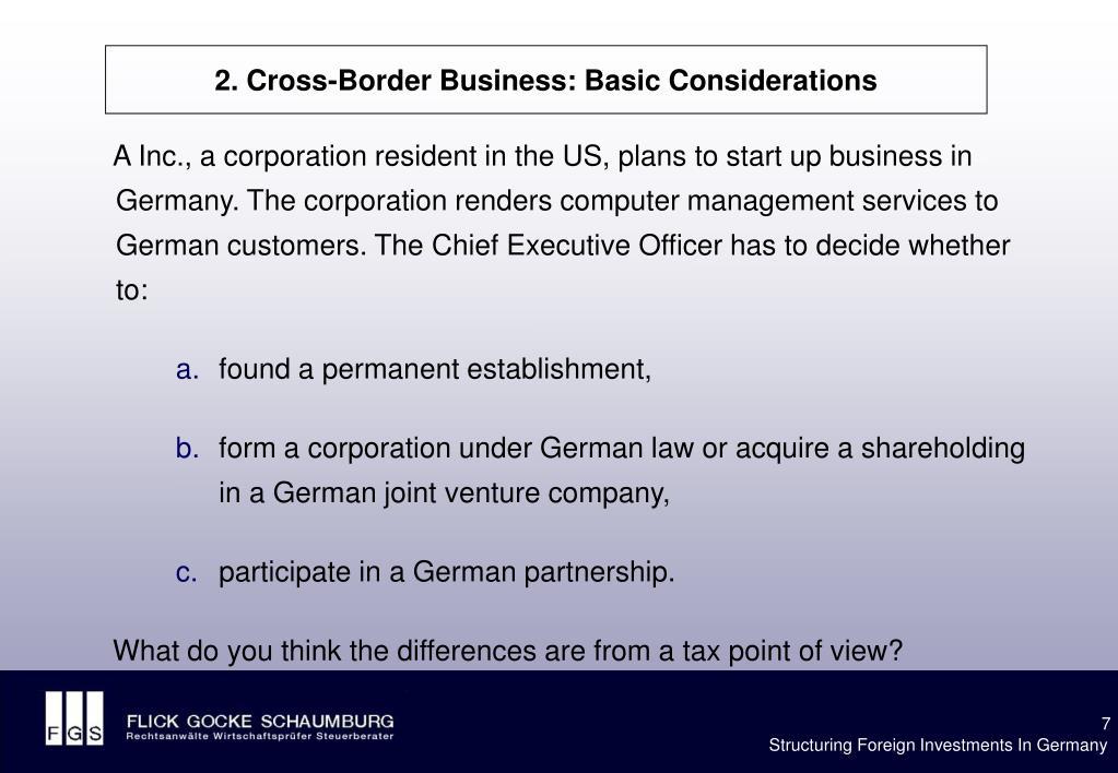 2. Cross-Border Business: Basic Considerations