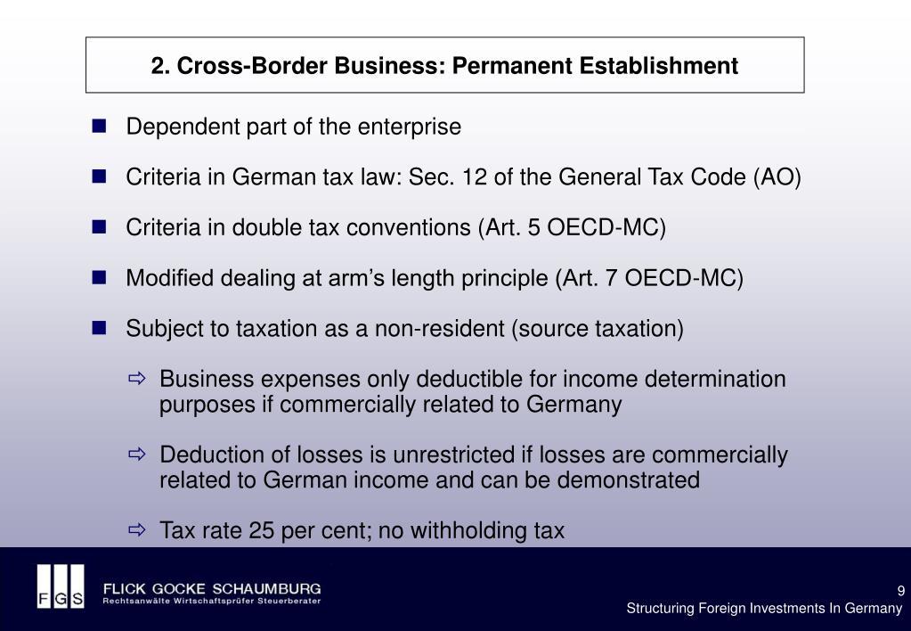 2. Cross-Border Business: Permanent Establishment