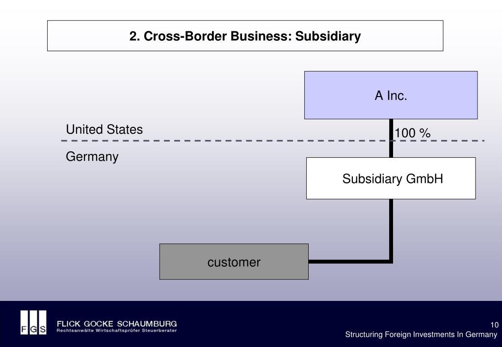 2. Cross-Border Business: Subsidiary