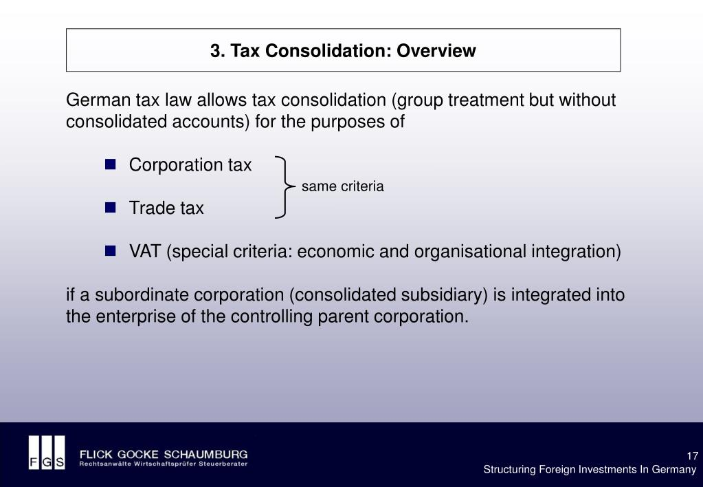 3. Tax Consolidation: Overview
