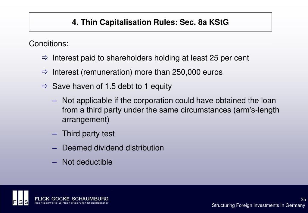 4. Thin Capitalisation Rules: Sec. 8a KStG