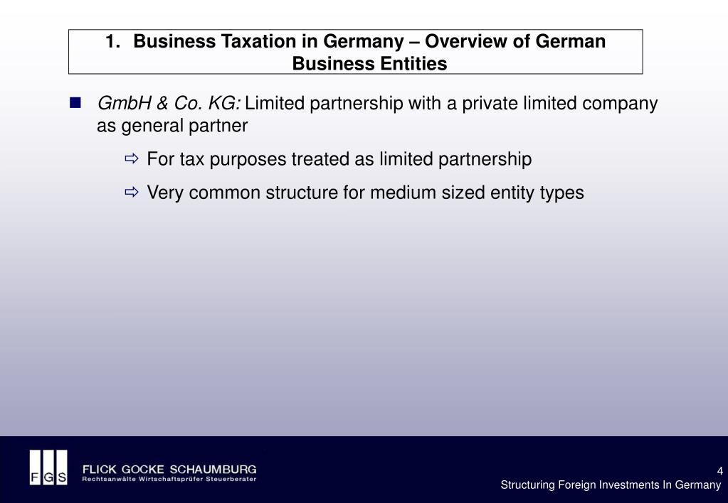Business Taxation in Germany – Overview of German Business Entities