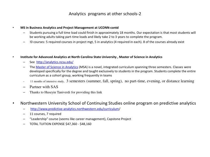 Analytics  programs at other schools-2