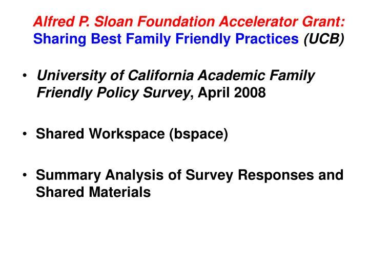 Alfred P. Sloan Foundation Accelerator Grant: