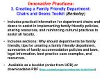 innovative practices 3 creating a family friendly department chairs and deans toolkit berkeley