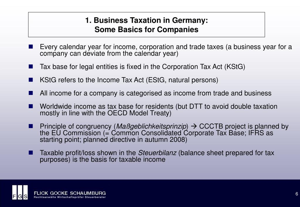 1. Business Taxation in Germany: