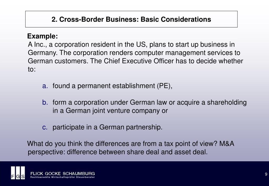 2. Cross-Border Business: Basic Considerations