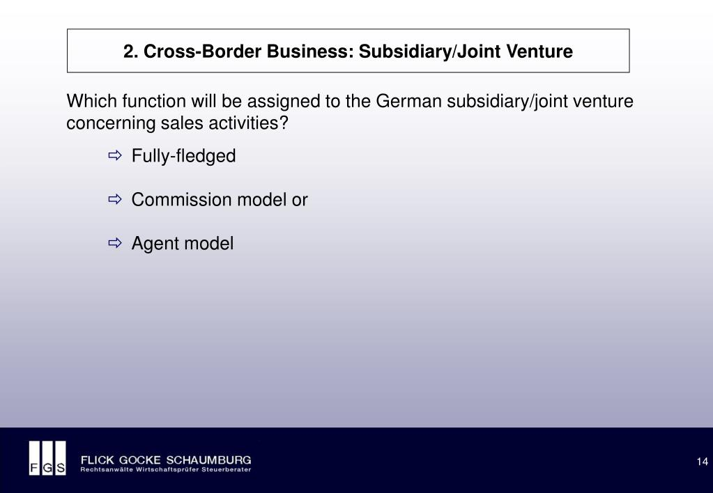 2. Cross-Border Business: Subsidiary/Joint Venture